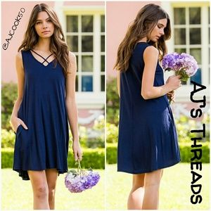 Dresses & Skirts - Criss-Cross Neck Jersey Knit Dress •Sale•