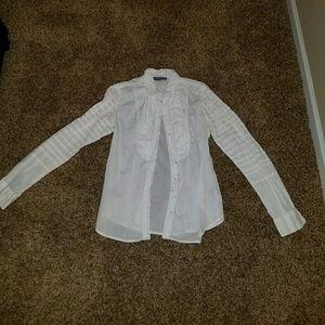 Zac Posen Tops - Zac Posen for Target White Tuxedo Blouse size L