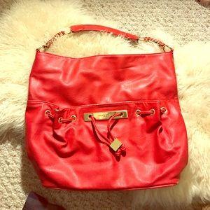 Red oversized handbag