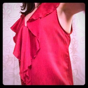 Rosebud Tops - Red top with blue polka dot pattern