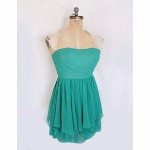 Emerald green chiffon dress