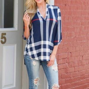 Tops - Blue plaid v-neck shirt