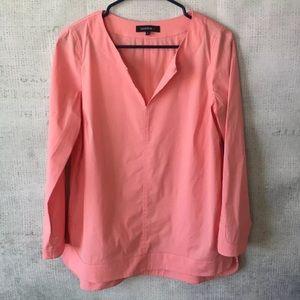 Lafayette 148 New York Tops - Lafayette 148 Long Sleeve Slit Neck Shirt Top