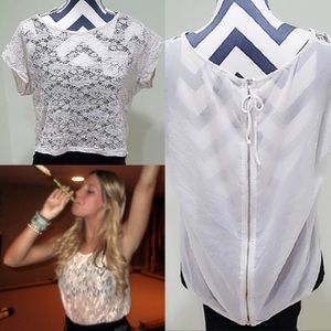 Lace High/Low Shirt