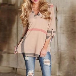 Pink plaid v-neck shirt