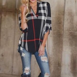 Tops - Black plaid v-neck shirt