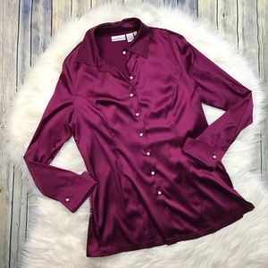 Soft Surroundings Purple Silk Stretch Blouse