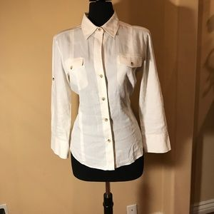 Theory Tops - Theory White Linen Dulcie Button Down Shirt.