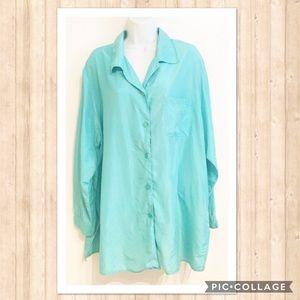 Diane Von Furstenberg Blue Silk Button Up