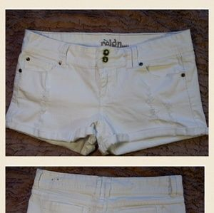 Reign Pants - Cute white distressed women's shorts.