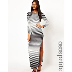 ASOS Petite Dresses & Skirts - ASOS Black & White Striped Long Sleeve Maxi Dress