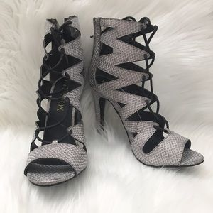Paper Fox Shoes - PAPER FOX grey faux snakeskin lace up heels