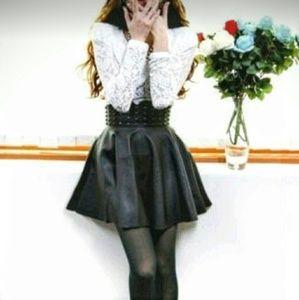 Dresses & Skirts - 🔥FINAL🔥NWOT Black Faux Leather Studded Mini