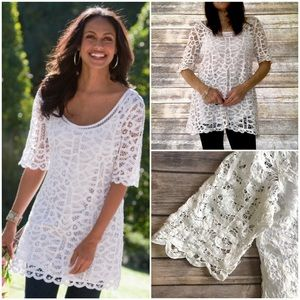 Soft Surroundings Tops - Crochet / Cami Lined White Top