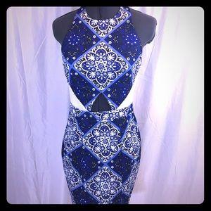 angel biba Dresses & Skirts - Angel biba blue white navel Cutout Halter dress