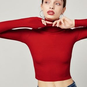 Reformation Rory Red Rib Knit Crop Top