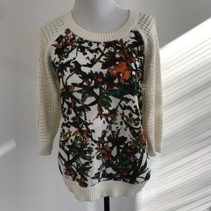 Abstract Floral front spring sweater