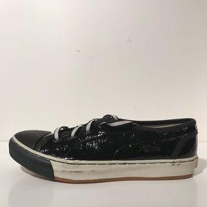 Alexander McQueen Shoes - Puma x Alexander McQueen Black Leather Sneakers