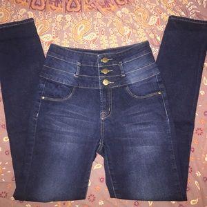 Refuge Dark Blue High Waisted Skinny Jeans