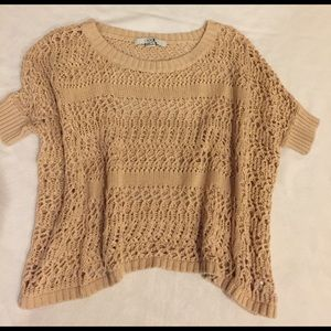 Sweaters - Crocheted Short Sleeve Sweater
