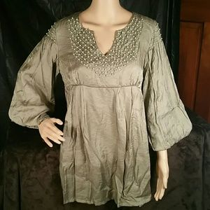 DB Sport Sage Beaded 3/4 Sleeve Boutique Blouse