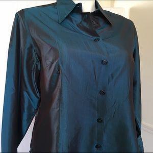 Lane Bryant Tops - Vintage 90s iridescent navy blue silk dress shirt