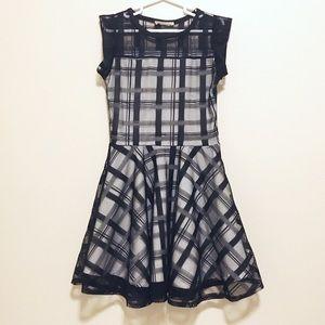 Other - Black & White Tulle Plaid Skater Dress