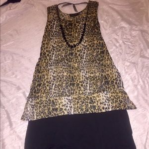 other Tops - Leopard Print double layer Tunic Sz M