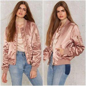 Nasty Gal Jackets & Coats - Rose Blush Pink Satin Bomber Jacket