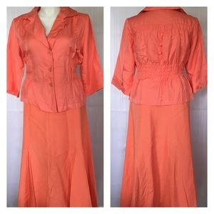 Ashley Stewart Dresses & Skirts - Peach orange linen blend skirt & jacket suit set