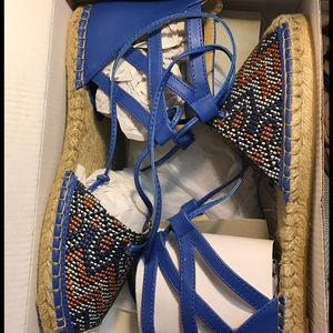 Aldo Shoes - Royal blue lace up ankle flat sandals