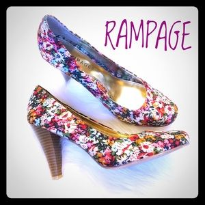 Rampage Shoes - Sassy Heels Patterned Fabric Flower Beauties SZ 8