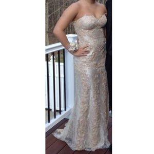 Jovani Strapless Lace Champagne Prom Dress