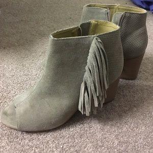 Kensie Shoes - Suede Fringe Open Toe Booties