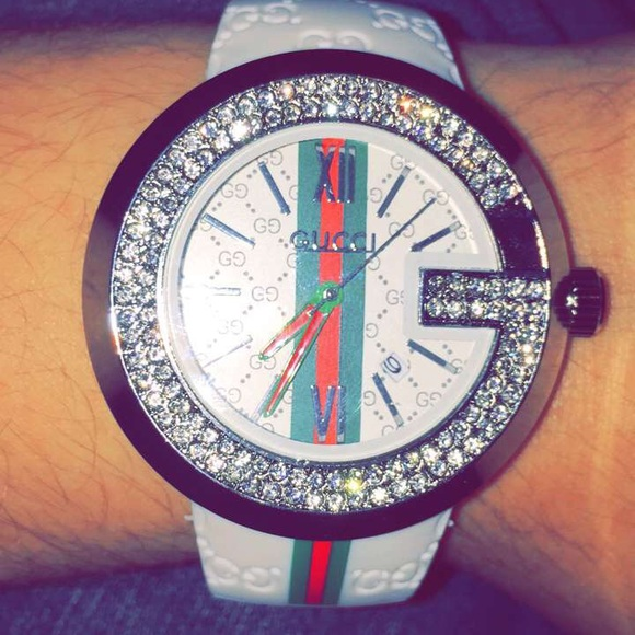 c086ad8e1a6 White Crystal Gucci Watch