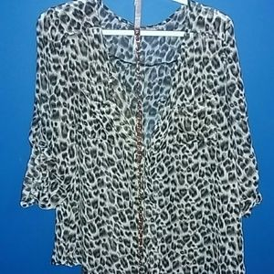 dna couture Tops - Cheetah print oversized see thru top and Belt.