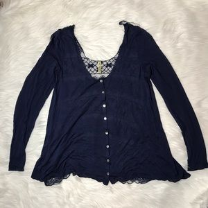 Free People Blue Long Sleeve Button Up Lace Back M