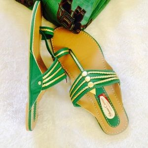 Shoes - Green with gold flats from India