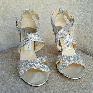 NIB Jimmy Choo Silver Glitter Louise Sandals