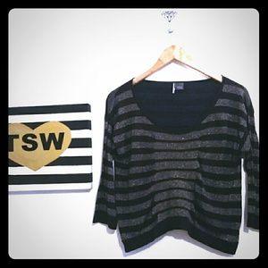 Sparkle & Fade Sweaters - SPARKLE & FADE black glitter stripe sweater