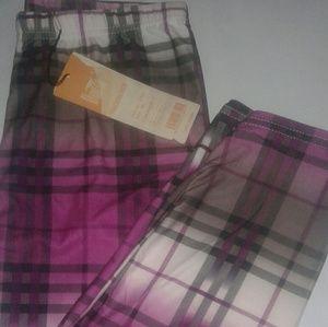 Purple  Checked Cotton Capri leggings in M/L