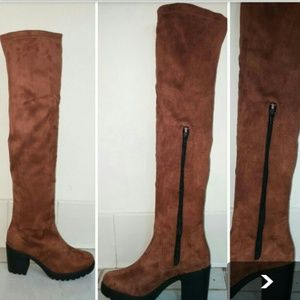 NEW OVER THE KNEE TAN COLOR STRETCH SUEDE BOOTS