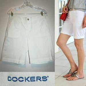 Dockers Pants - Dockers White Cotton Bermuda Shorts EUC