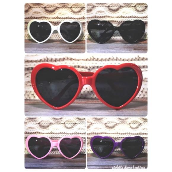 3619f38dd3f New Heart Sunglasses Pink Red Purple Black White
