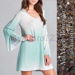 MINT OMBRÉ LONG SLEEVE MINI DRESS