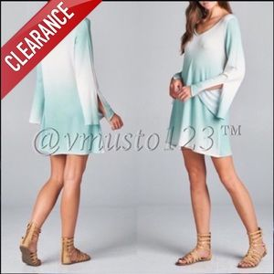 CLEARANCE MINT OMBRÉ LONG SLEEVE MINI DRESS