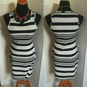 Asymmetrical hem striped midi work dress