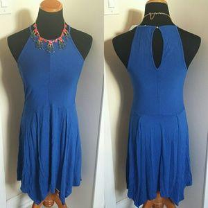 NWT Royal Blue Handkerchief Keyhole Dress