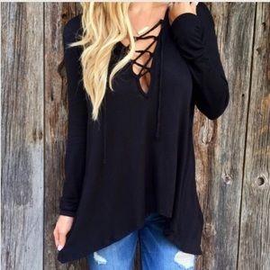 Tops - Black hooded shirt