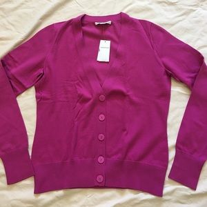 Banana Republic Fuchsia Cotton Cardigan sweater